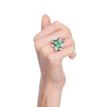 anel-blossom-precious-ouro-branco-18k-com-diamantes-e-esmeralda-still